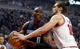 Le pivot des Chicago Bulls Joakim Noah lors du match contre les Charlotte Bobcats le lundi 28 janvier 2013.
