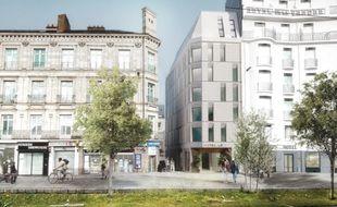 Image de synthèse du futur hôtel, allée du commandant Charcot à Nantes