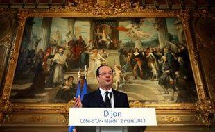 François Hollande lors de son discours àDijon, le 12 mars 2013.