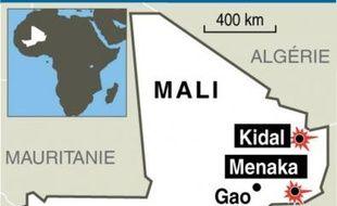 Carte localisant la villes de Kidal. Illustration
