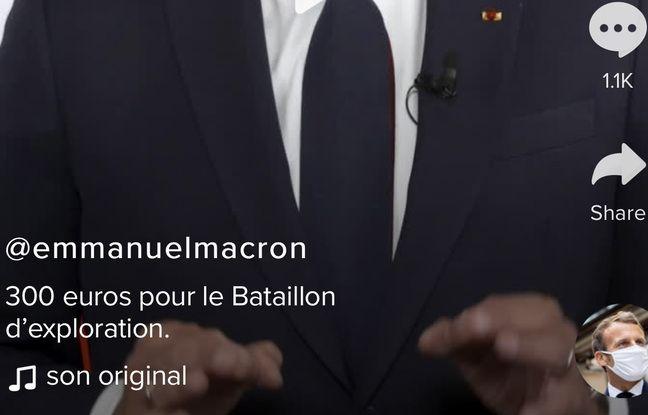Détail de la vidéo TikTokk postée par Emmanuel Macron le 21 mai 2021