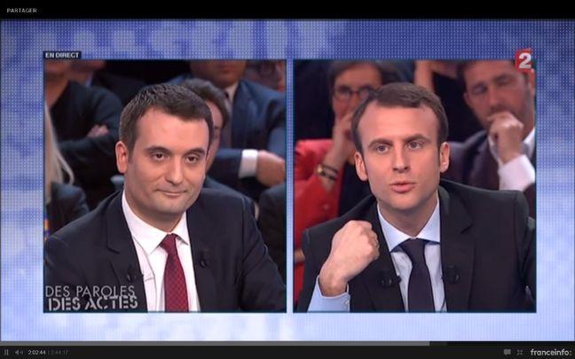 Florian Philippot face à Emmanuel Macron lors de l'émission