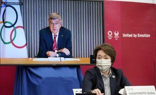 Le CIO, la ville de Tokyo et le gouvernement japonais s'est réuni en visio pour discuter des mesures sanitaires pour les prochains JO, le 28 avril 2021.