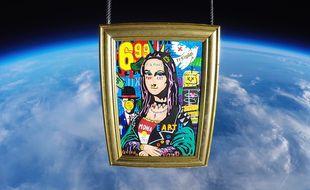 Le tableau «La Punk Mona» de l'artiste français Jisbar a été mis en orbite le 11 décembre. Il sera visible Galerie Montmartre à partir de mi-janvier 2020.