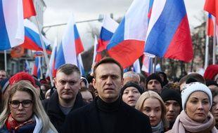 Les membres de l'opposition Lyubov Sobol (à gauche) et Alexei Navalny (au centre), le 29 février 2020 à Moscou.