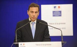Le ministre de l'Immigration, Eric Besson, présente ses voeux à la presse au ministère, à Paris, le 18 janvier 2009.