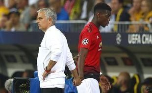 José Mourinho et Paul Pogba le 19 septembre 2018 en Ligue des champions.