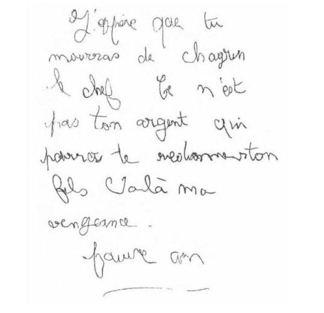 Copie de la lettre reçue par les Villemin le lendemain de la mort de Grégory.