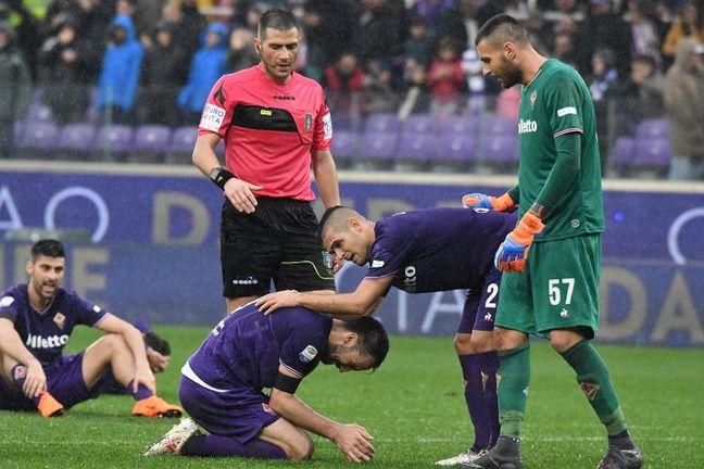 Les joueurs de la Fiorentina en larmes à la fin du match.