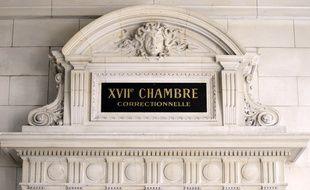 Photo prise le 17 octobre 2011 au Palais de justice de Paris du fronton de la 17ème chambre correctionnelle.