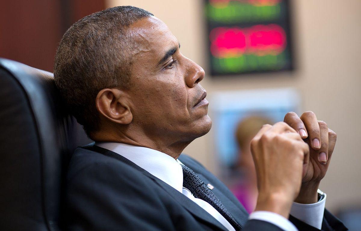 Barack Obama dans la Situation Room de la Maison Blanche, le 28 juillet 2014   – P.SOUZA/WHITE HOUSE