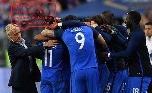 Didier Deschamps avec ses joueurs lors de la victoire de la France contre l'Angleterre, le 13 juin 2017 au Stade de France.