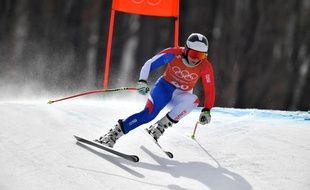 Anne-Sophie Barthet à l'entraînement du combiné alpin à Pyeongchang.