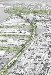 Plan de la Brazzaligne, future promenade le long de voies ferroviaires sur la rive droite de Bordeaux.