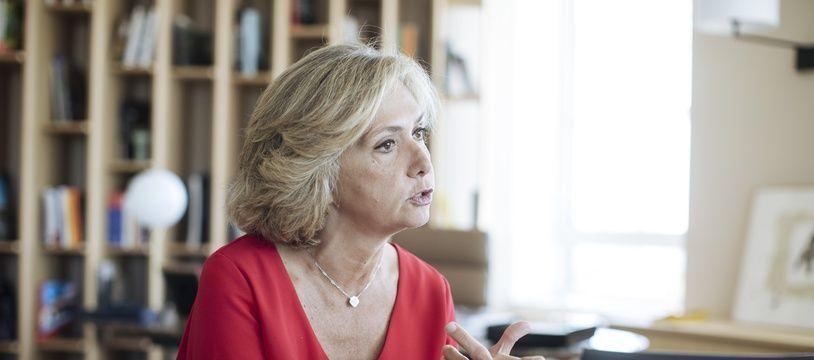La présidente de la région Ile-de-France, Valérie Pécresse, dans son bureau ce lundi à Saint-Ouen (Seine-Saint-Denis)