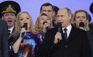 Vladimir Poutine fête l'annexion de la Crimée, le 18 mars 2015 à Moscou