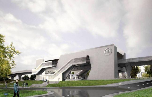 Image de synthèse de la future station de métro Beaulieu en construction sur la ligne B à Rennes.