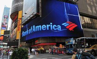 Le logo de Bank of America à Times Square le 20 août 2013.