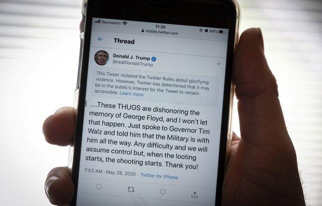 Le tweet de Trump signalé par Twitter pour glorification de la violence.