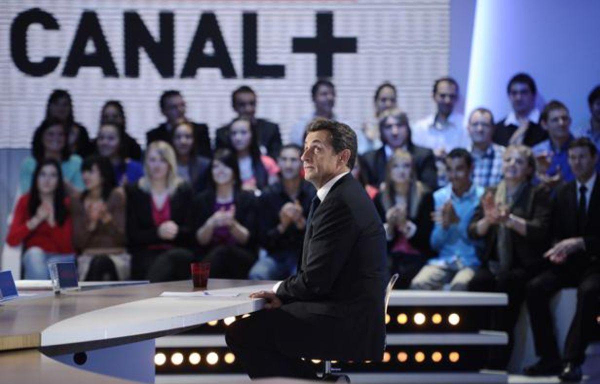 Nicolas Sarkozy sur le plateau du «Petit journal» de Canal+, le 16 mars 2012. – Lionel Bonaventure/REUTERS