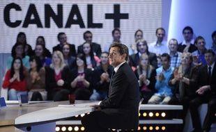 Nicolas Sarkozy sur le plateau du «Petit journal» de Canal+, le 16 mars 2012.