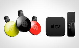 Les nouvelles clés Chromecast, de Google, et la dernière génération d'Apple TV.