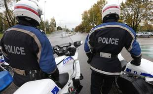 Strasbourg le 05 novembre 2014. Motards de la police nationale.