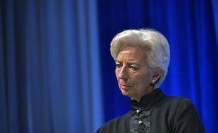 Christine Lagarde, directrice du FMI, lors d'une conférence sur le renforcement du système fiscal international, à Washington, le 17 avril 2016