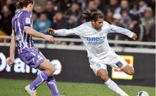 Le Brésilien Brandao (à dr.) a inscrit son quatrième but de la saison contre Toulouse.
