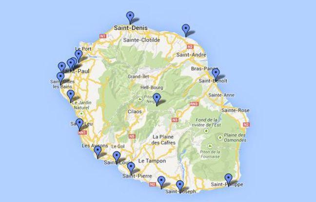 La carte des attaques mortelles de requins la r union - Bureau de service national du lieu de recensement ...