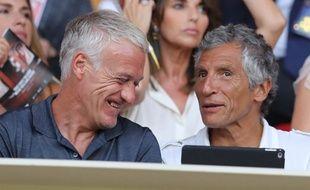 Les grands amis Didier Deschamps et Nagui spectateurs de Monaco-Lille, en août 2018 au Stade Louis-II.