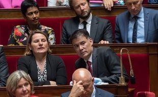 Valerie Rabault président du groupe socialiste à l'Assemblée nationale aux côtés d'Olivier Faure, Premier secrétaire du Parti socialiste