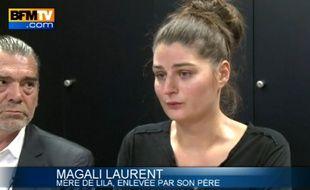 Capture d'écran d'une vidéo BFMTV de la conférence donnée par Magali Laurent, la mère de Lila, 3 ans, enlevée par son père, djihadiste présumé.