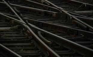 Les infrastructures ferroviaires vides a la sortie de la gare de Lyon a Paris, FRANCE - 22/12/2019 -