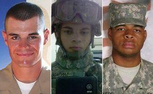 Trois anciens militaires américains auteurs-présumés de fusillades de masse: Ian David Long (2018), Esteban Santiago (2017) et Micah Johnson (2016).