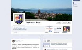 Capture d'écran de la page Facebook de la gendarmerie du Var le 7 novembre 2012