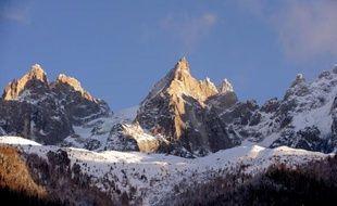"""Les """"Aiguilles de Chamonix"""" dans le massif du Mont-Blanc le 26 décembre 2012"""