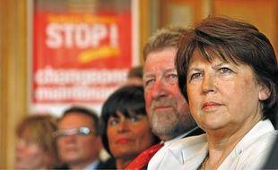 De gauche à droite, les socialistes Catherine Génissson, Jean-Pierre Kucheida et Martine Aubry.