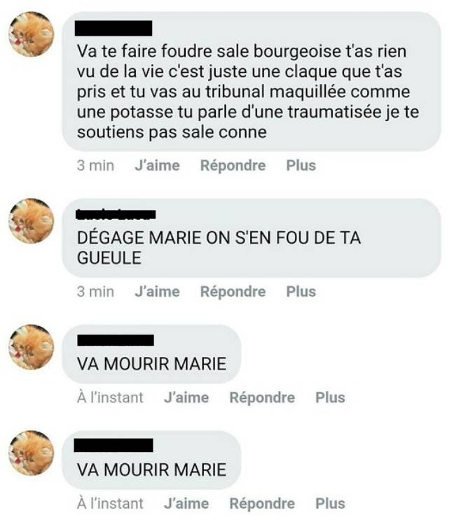 Capture d'écran des insultes et menaces reçues par Marie.