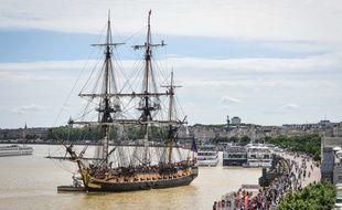 Le voilier Hermione, le 8 juin 2018 à Bordeaux.