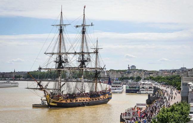 Le voilier Hermione, le 8 juin 2016 à Bordeaux.