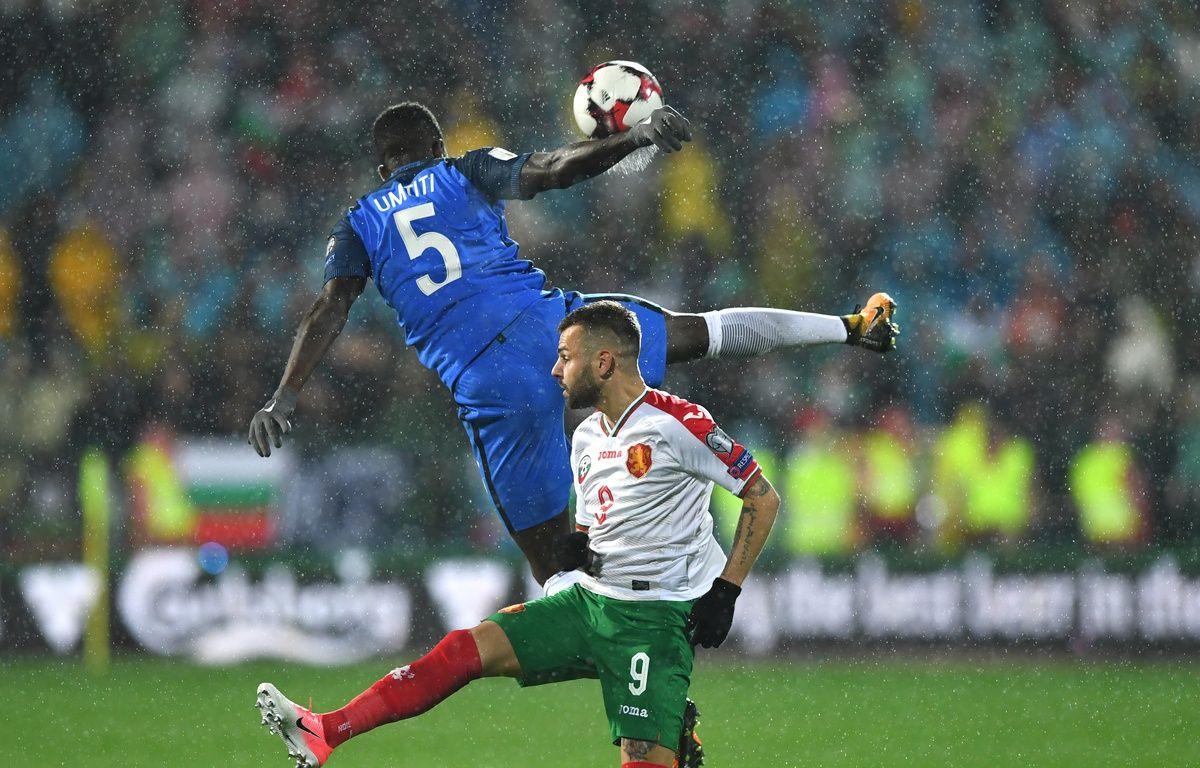 Les Bleus face à la Bulgarie lors des matchs de qualifications de la Coupe du Monde 2018, à Sofia le 7 octobre 2017.  – Dimitar DILKOFF / AFP