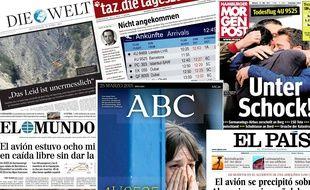Les Unes des journaux allemands et espagnols le mercredi 25 mars 2015.