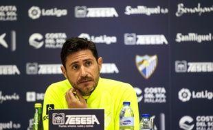 L'entraîneur de Malaga Victor Sanchez del Amo en conférence de presse, le 16 décembre 2019.