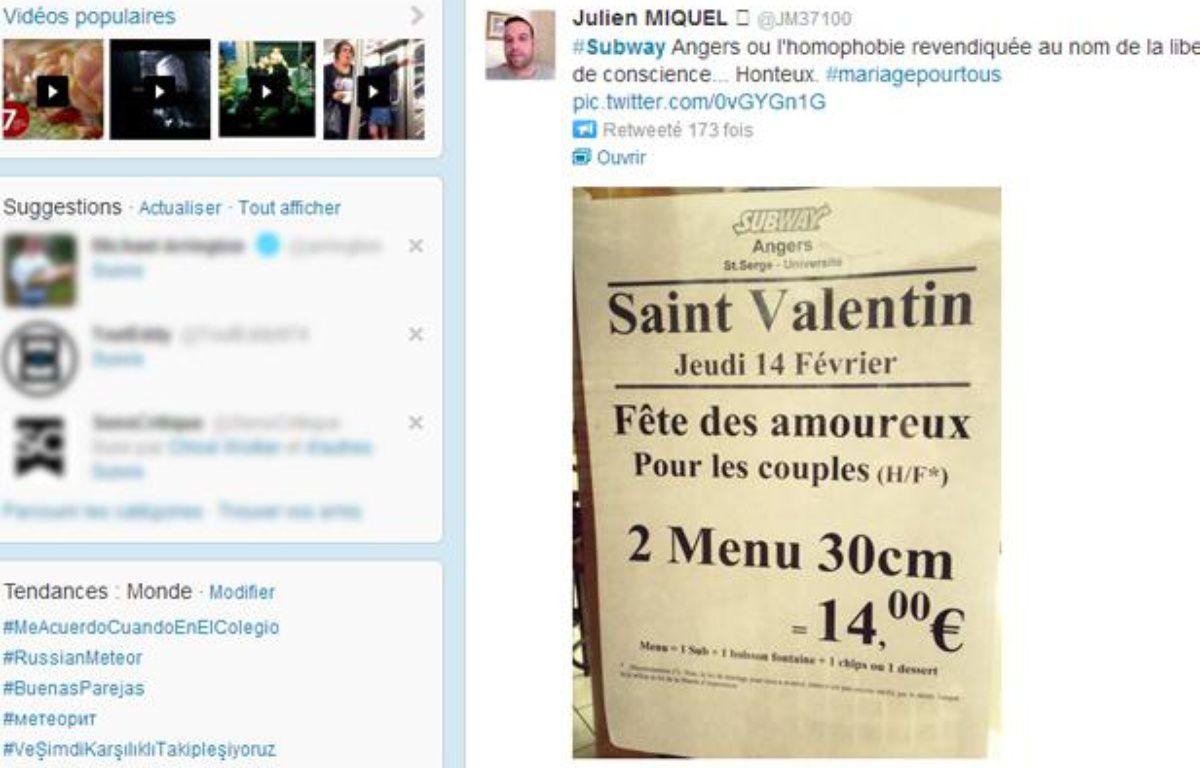 Un restaurant Subway d'Angers a limité son offre promotionnelle de Saint-Valentin aux couples hétérosexuels. – CAPTURE D'ECRAN/20MINUTES.FR