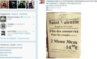 Un restaurant Subway d'Angers a limité son offre promotionnelle de Saint-Valentin aux couples hétérosexuels.