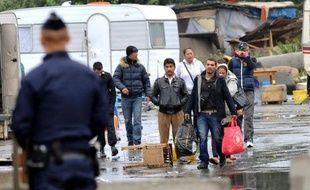 Evacuation par la police d'un campements de Roms, le 18 septembre 2013 à Lille