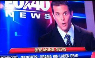 Capture d'écran de la chaîne américaine Fox News, présentant un bandeau «Obama ben Laden est mort», en mai 2011.