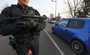 Strasbourg le 14 novembre 2015. Contôles de police à la frontière franco allemande sur le Pont de l'Europe suite aux attentats de Paris.