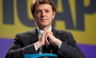 Le ministre de l'Economie, François Baroin, lors d'une conférence de presse le 14 avril 2011 à Bercy, alors qu'il était ministre du Budget.